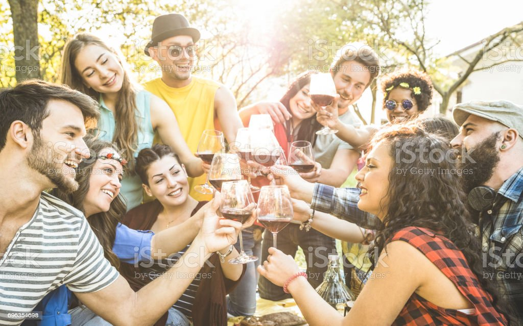 Group of friends toasting red wine having fun outdoor cheering at bbq picnic - Young people enjoying summer time together at lunch garden party - Youth friendship concept - Focus on clinking glasses stock photo