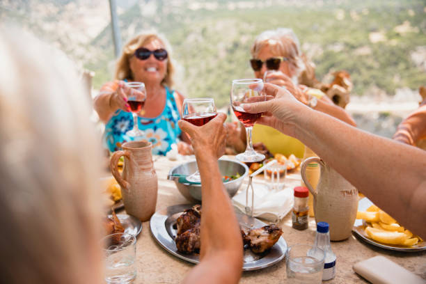 Group of Friends Toasting to Their Holiday stock photo