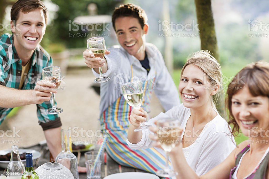 Group of friends toasting wine glasses at picnic, portrait royalty-free stock photo