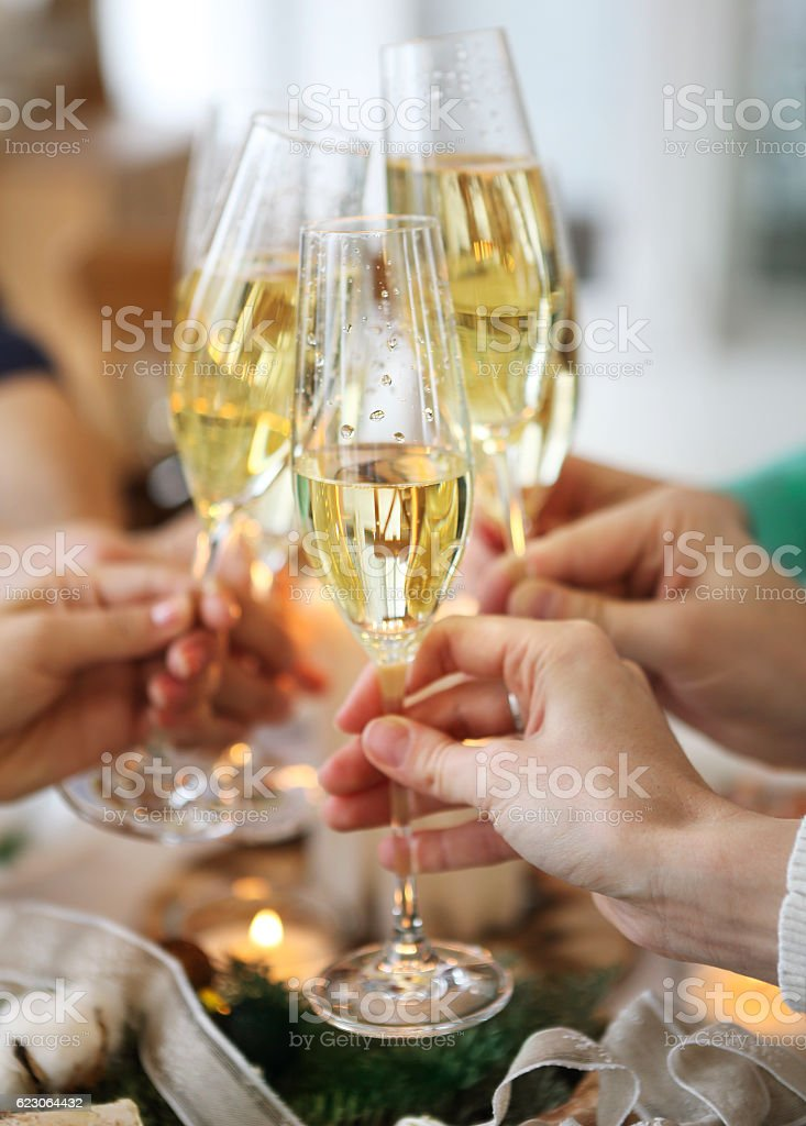 Group of friends toasting with champagne - Photo