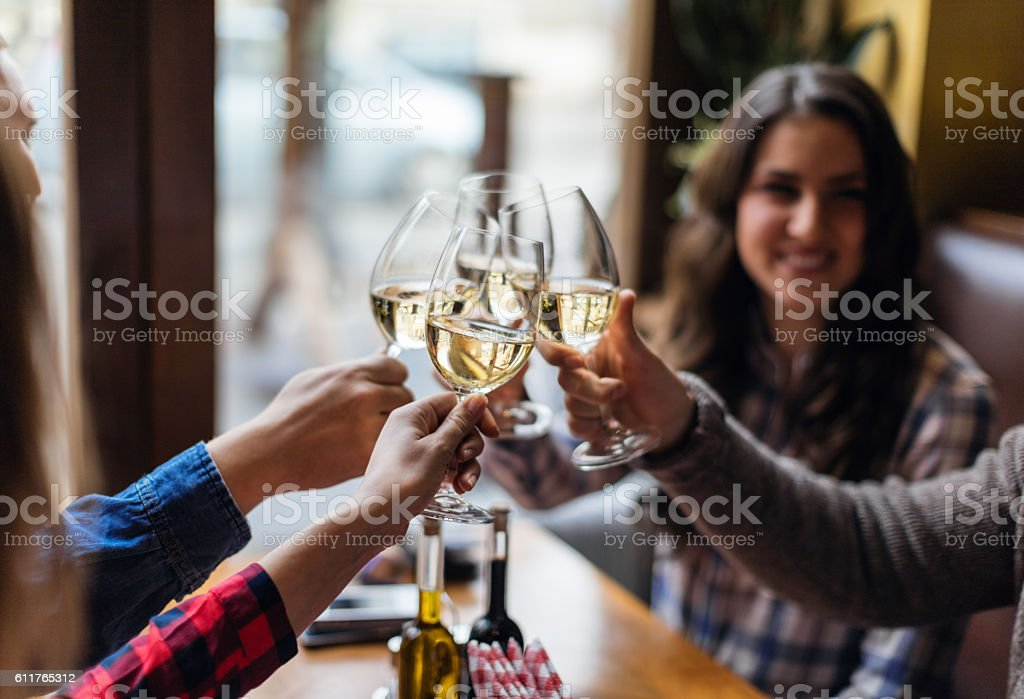 Group of friends toasting with wine glasses stock photo