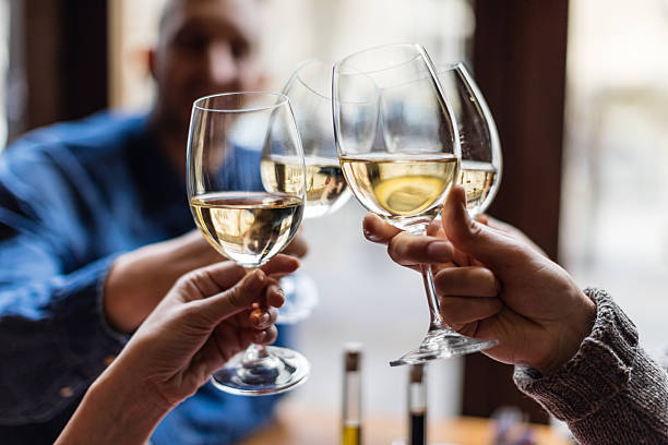 group of friends toasting with wine glasses - honour stock photos and pictures