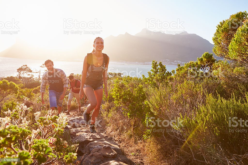 Group Of Friends Walking Along Coastal Path Together stock photo