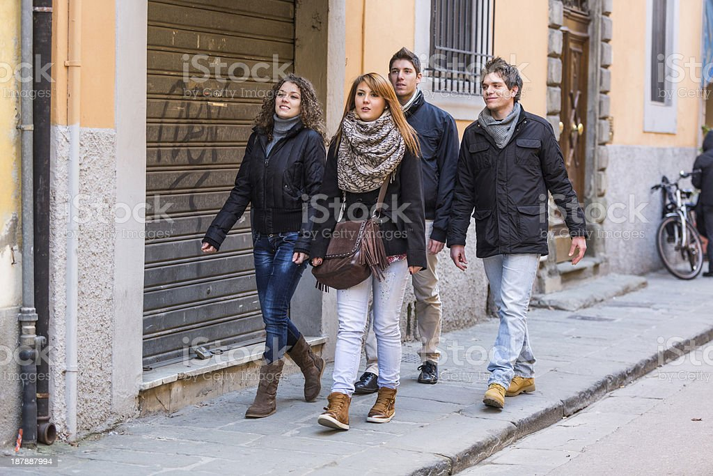 Group of Friends Walking in the City royalty-free stock photo