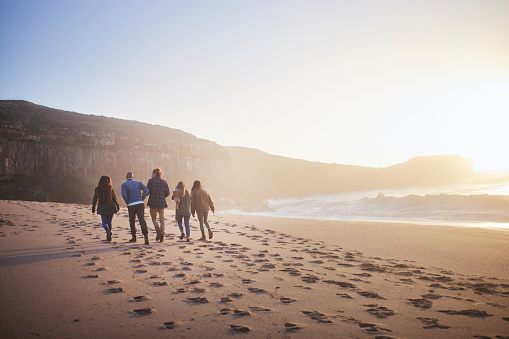 Back-view of group of friends walking together on the beach at sunset