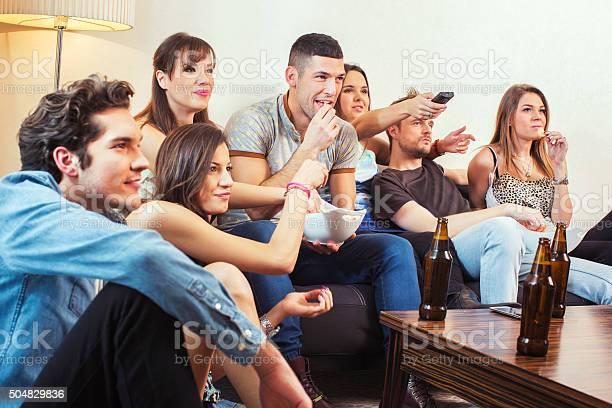 Group of friends watching tv at home picture id504829836?b=1&k=6&m=504829836&s=612x612&h=vgyomdhbz72m02vxatj3ejftpwn2chzwgtzh0vs t6g=