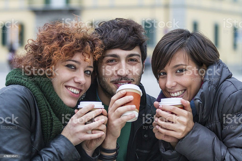 Group of Friends with Hot Drink on Winter royalty-free stock photo