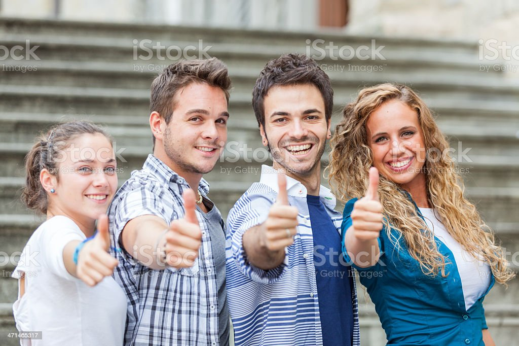 Group of Friends with Thumbs Up royalty-free stock photo