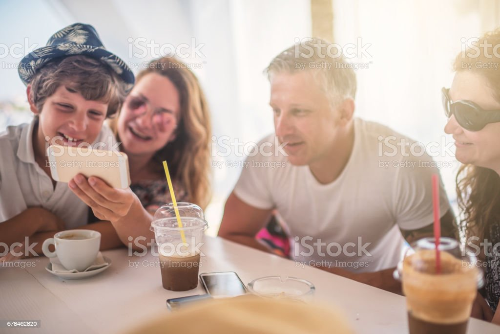 Group of friens enjoy in beach bar royalty-free stock photo