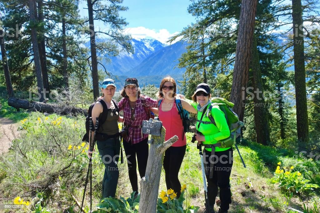 Group of frineds hiking in mountains. stock photo