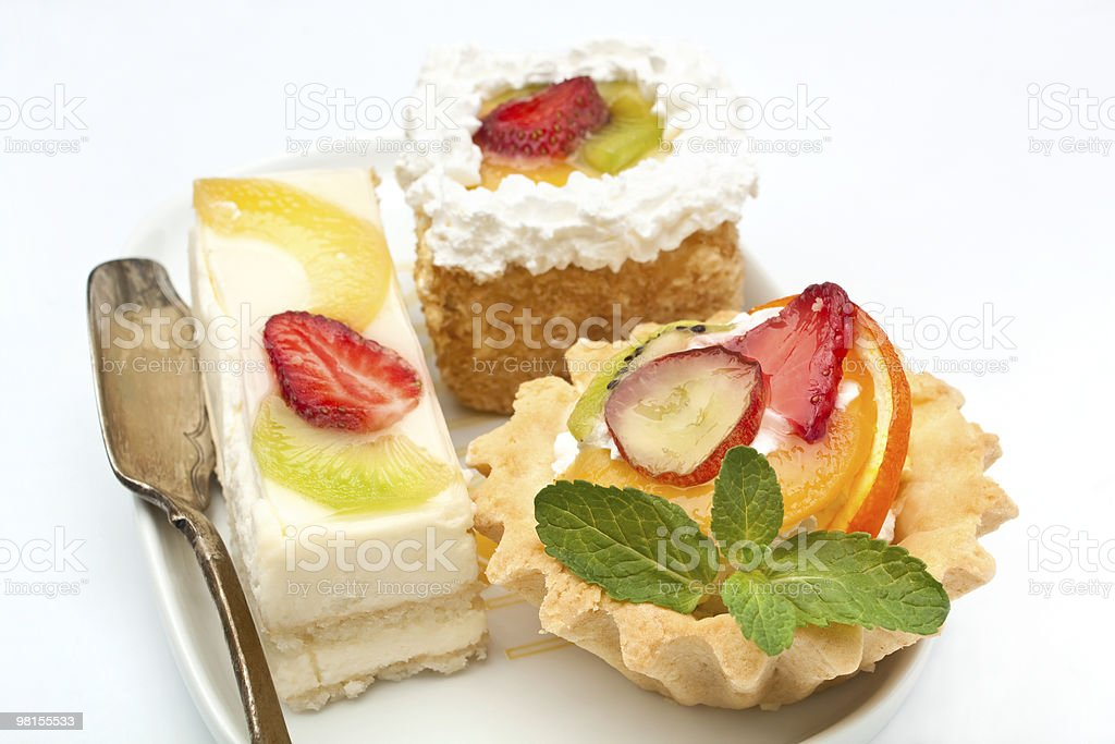 group of fruit tarts on a dish royalty-free stock photo