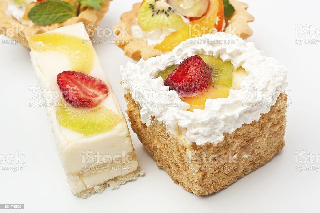 group of fruit tarts on a white background royalty-free stock photo