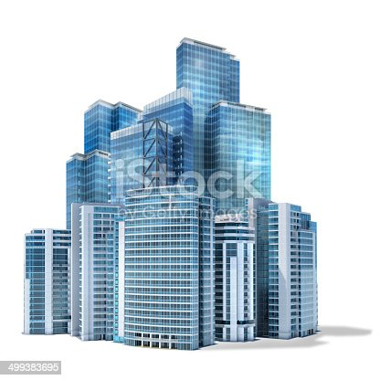Futuristic financial district and business center with modern office skyscraper buildings, glass  and steel. Isolated on white background with clipping path. Shadow is left out of clipping path for customized editing.