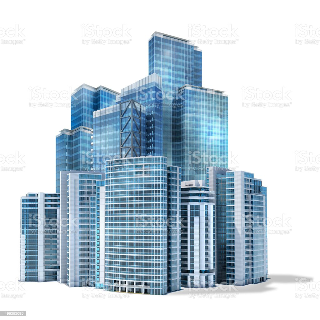 Group of futuristic office skyscrapers on white background stock photo