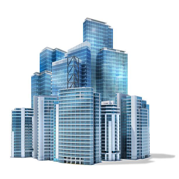 Gruppe von futuristischen Büro Wolkenkratzern auf weißem Hintergrund – Foto