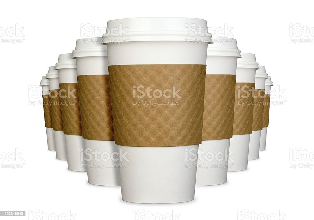 Group of Generic Disposable Coffee Cups in Perspective Isolated royalty-free stock photo