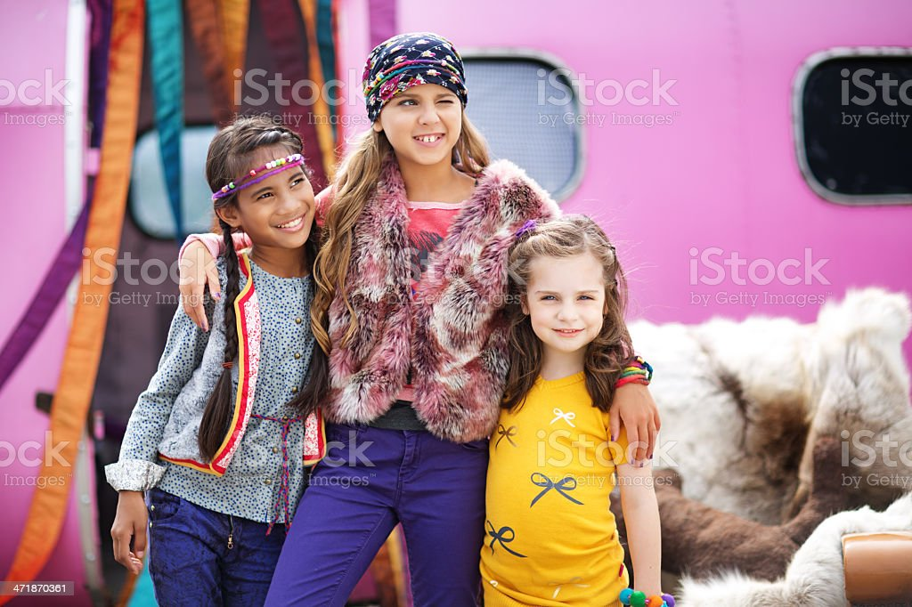 group of gipsy children outdoors royalty-free stock photo