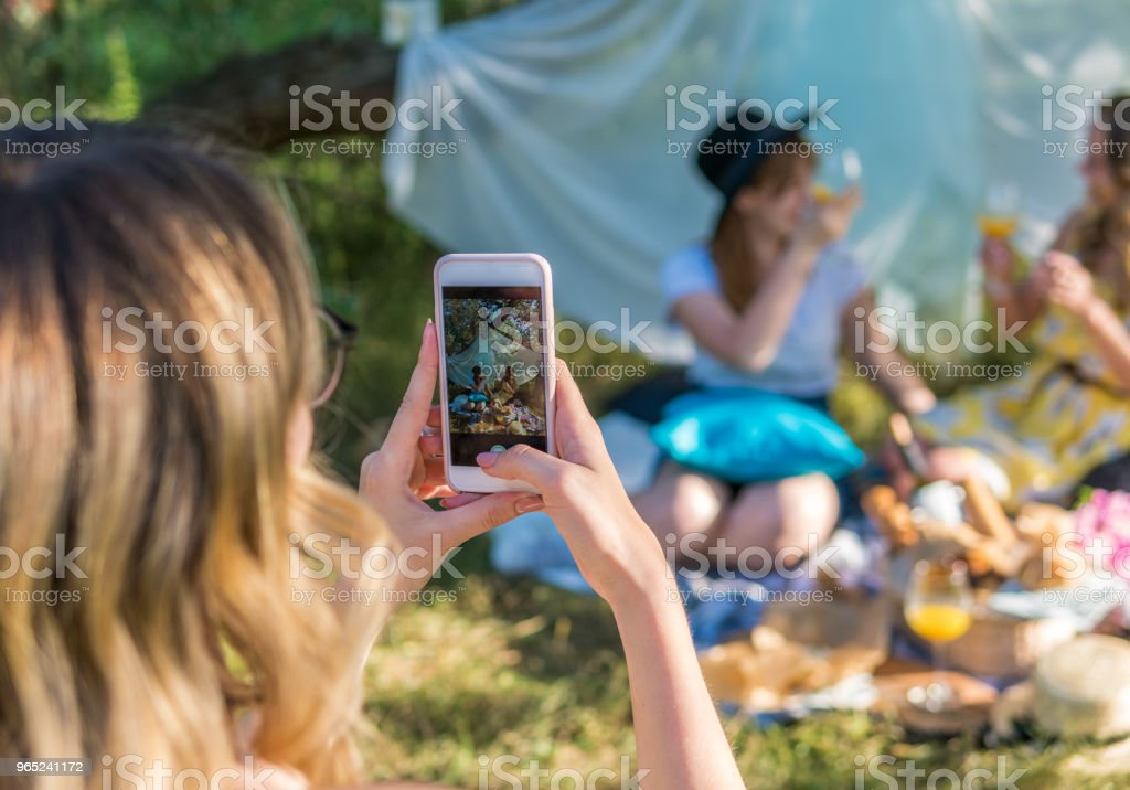 Group of girls friends take selfie photo royalty-free stock photo