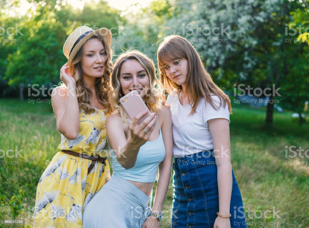 Group of girls friends take selfie photo zbiór zdjęć royalty-free