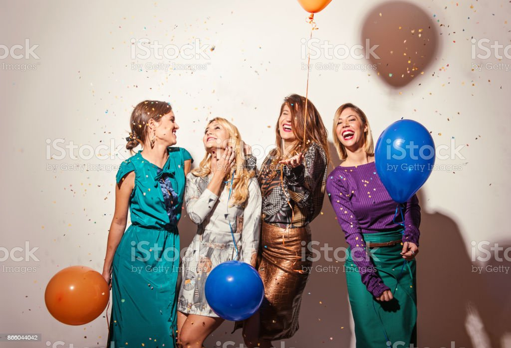 Group of girls having a party stock photo