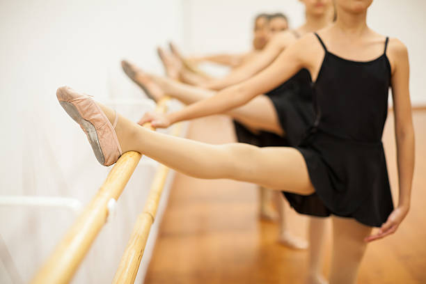 Group of girls in ballet class stock photo