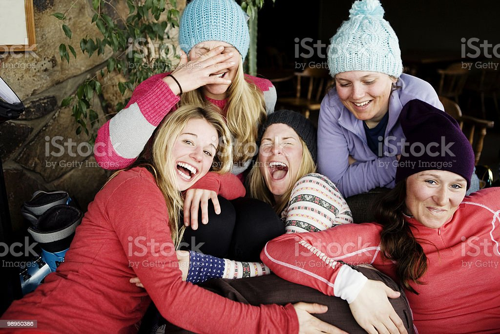 Group of girls smiling at the camera. royalty free stockfoto