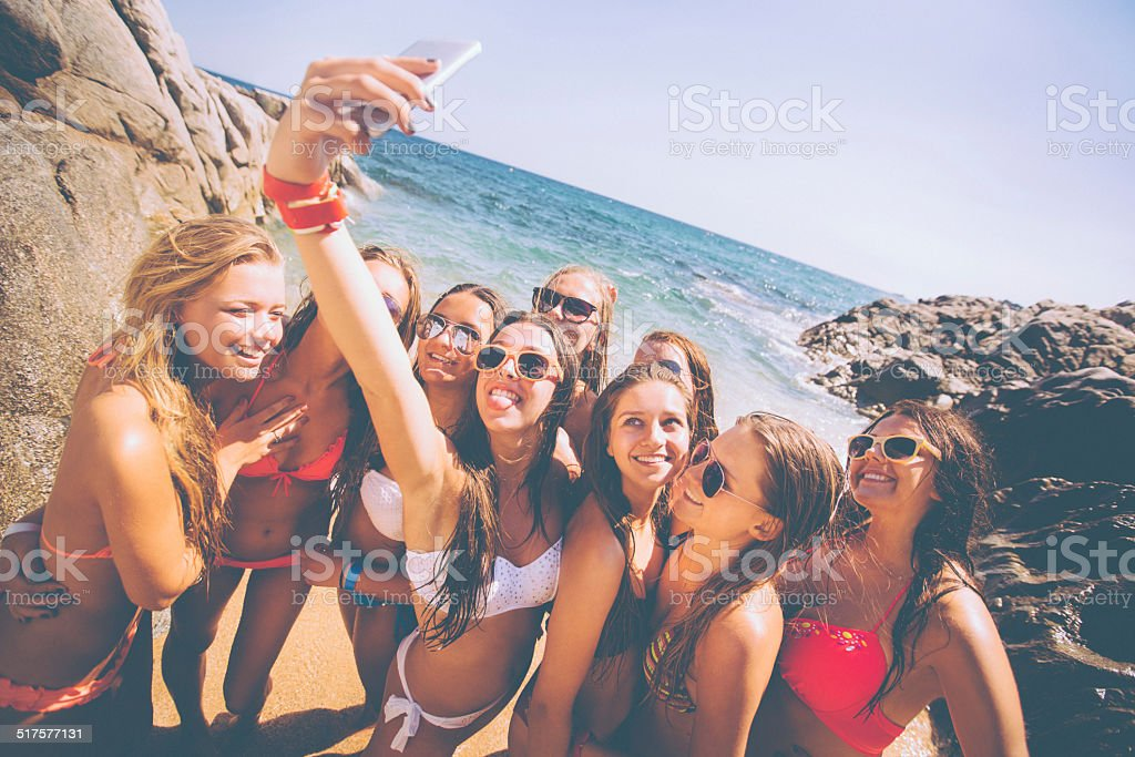 Group of Girls Taking Selfie stock photo