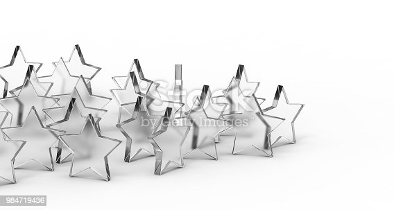 istock Group of glass stars isolated on white background. 3D rendering. 984719436