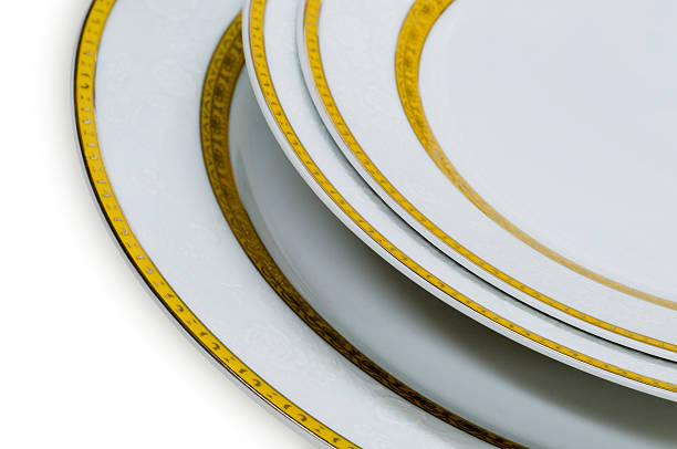 Group of gold line plates stock photo