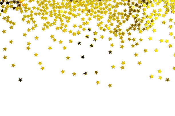 Group of gold star decoration isolated on white background object design on top view stock photo