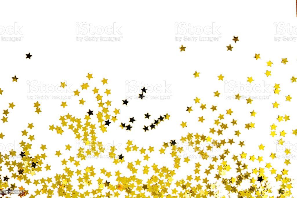 Grupo de ouro decoração estrela isolada na concepção de objeto de fundo branco na vista superior - foto de acervo