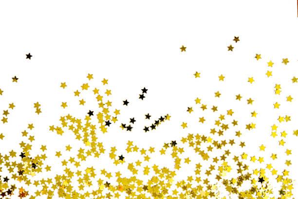 grupo de oro decoración estrella aislada en el diseño de objetos de fondo blanco en la vista superior - agradecimiento fotografías e imágenes de stock