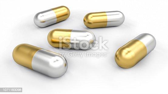 Group of golden and silver pills spilled on white desk. Medical concept illustration. 3D Rendering
