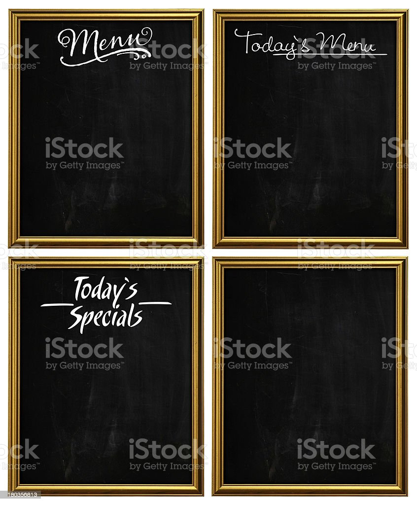 Group of Golden Picture Frames Chalkboard Blackboard Copy Space royalty-free stock photo