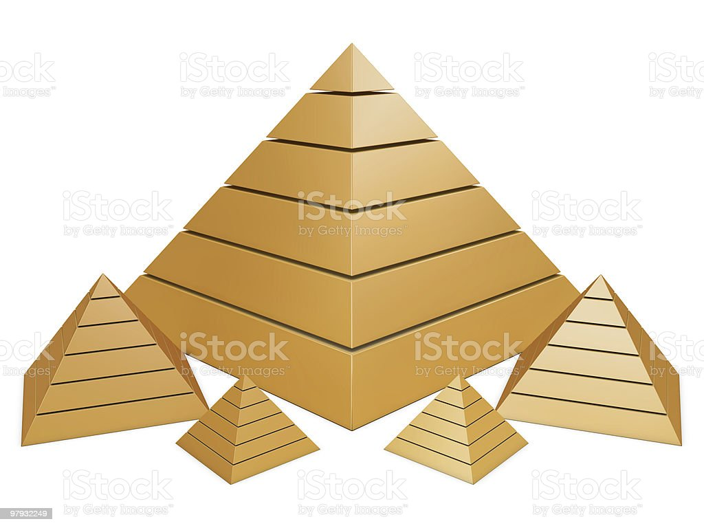 Group of golden pyramids royalty-free stock photo