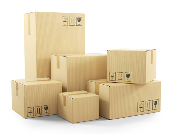 group of goods in cardboard boxes - fragile stock pictures, royalty-free photos & images