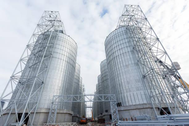 Un groupe de greniers pour stocker le blé et autres céréales. Une rangée de greniers contre le ciel bleu. - Photo