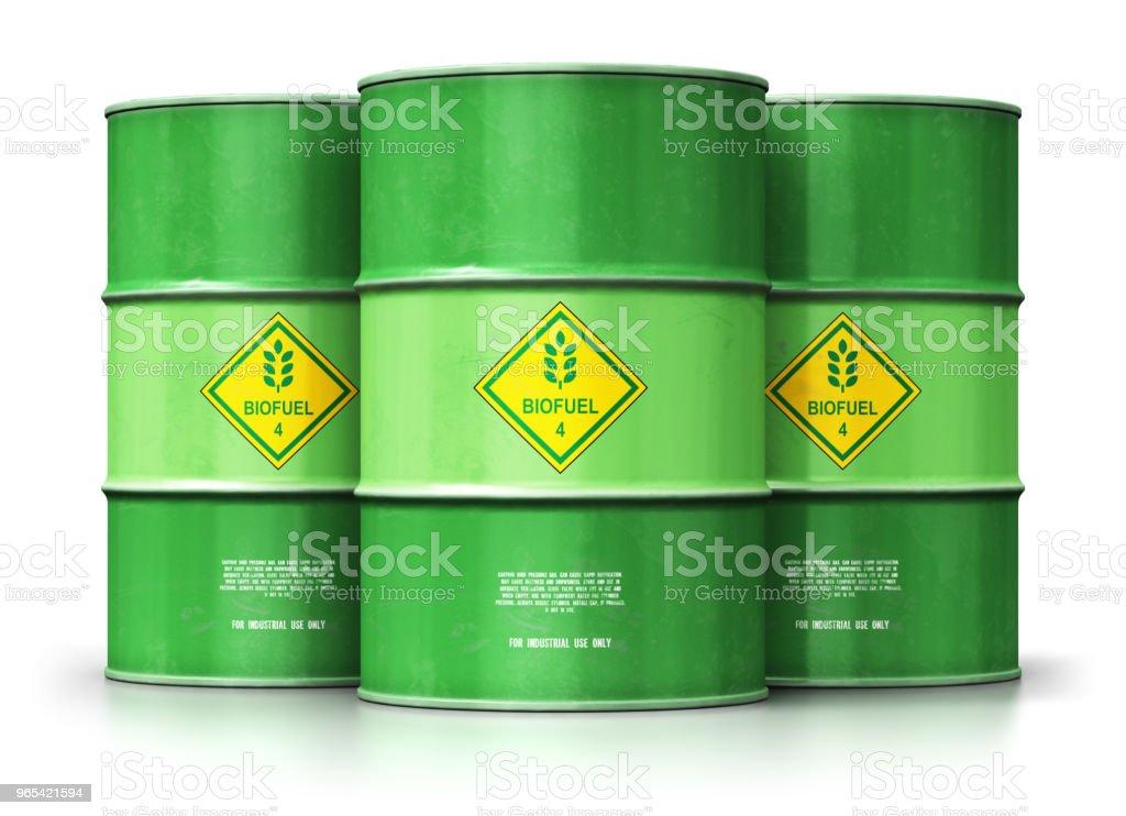 綠色生物燃料桶組在白色背景下分離 - 免版稅一組物體圖庫照片