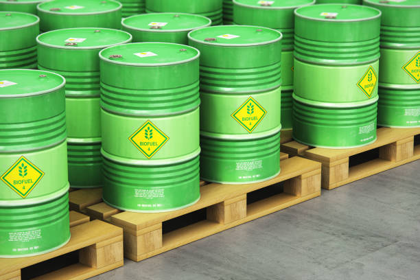 Group of green biofuel drums on shipping pallets in the storage warehouse Creative abstract ecology, alternative sustainable energy and environment protection saving business concept: 3D render illustration of the group of green stacked metal biofuel drums or biodiesel barrels in the industrial storage warehouse with selective focus effect biodiesel stock pictures, royalty-free photos & images