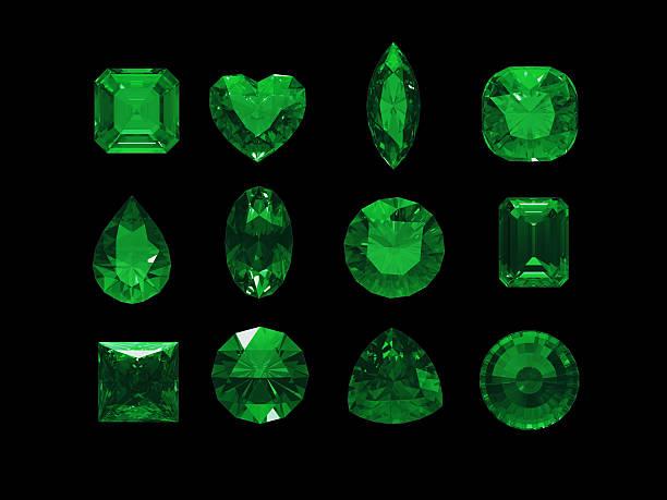 gruppe von grünen turmalin form mit clipping path - birnen verlobungsringe stock-fotos und bilder