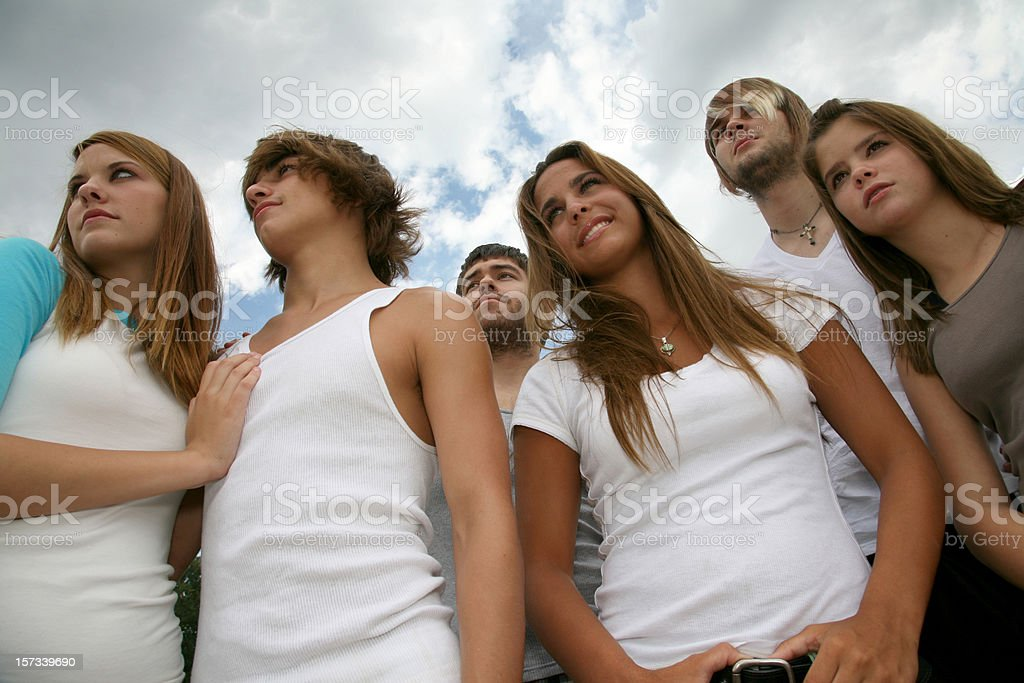 Group of Groovy Teenagers royalty-free stock photo