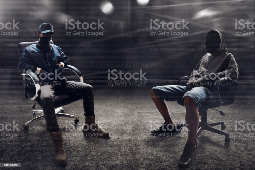 Group of hackers stock photo