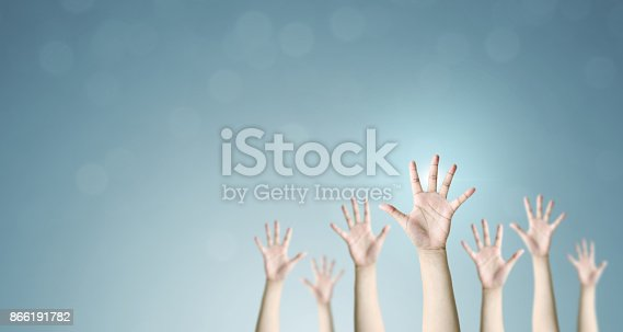 istock Group of hand raise up many people, International volunteer day and community service concept 866191782