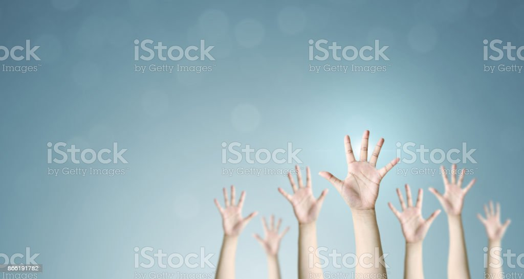 Group of hand raise up many people, International volunteer day and community service concept stock photo