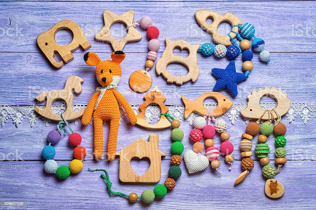 group of handmade toys for toddlers - foto de stock