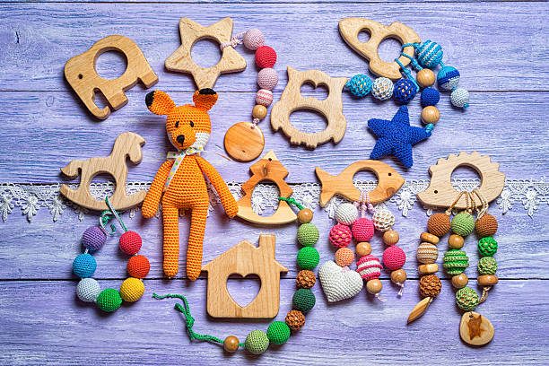 group of handmade toys for toddlers - fuchs baby kindergärten stock-fotos und bilder