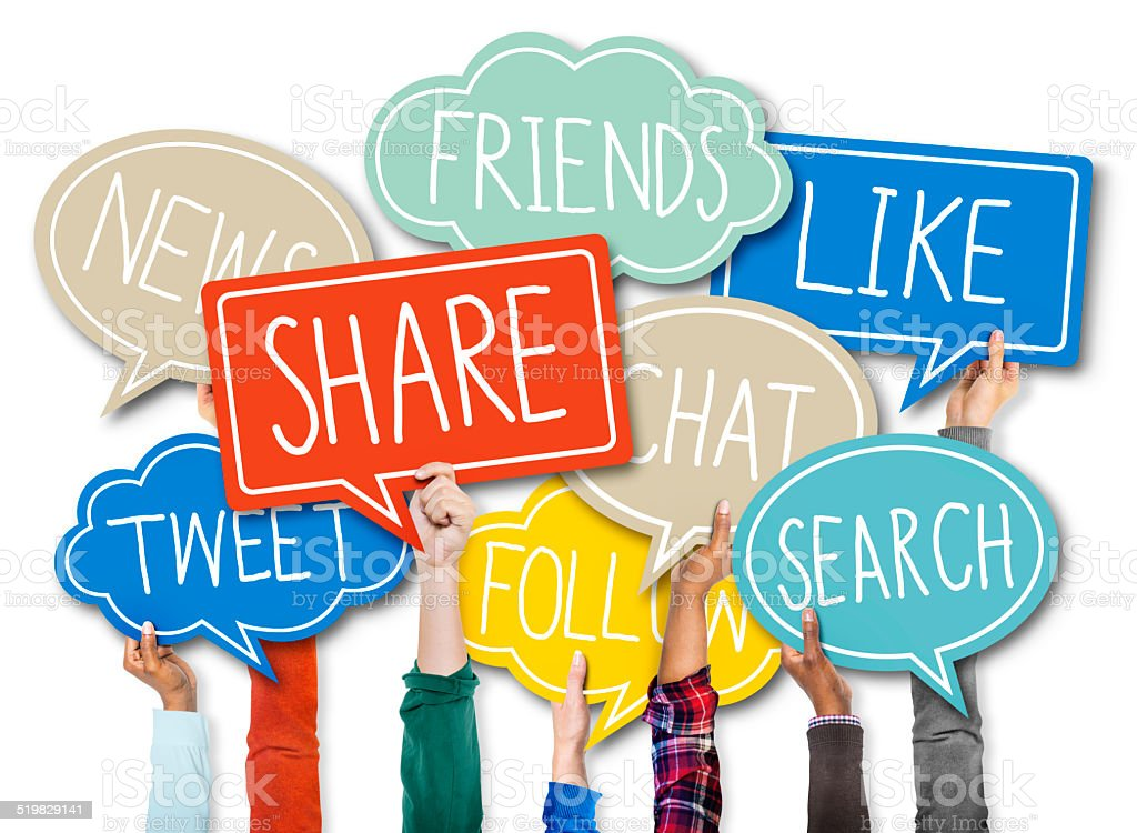 Group of Hands Holding Speech Bubbles with Social Issue Concept stock photo