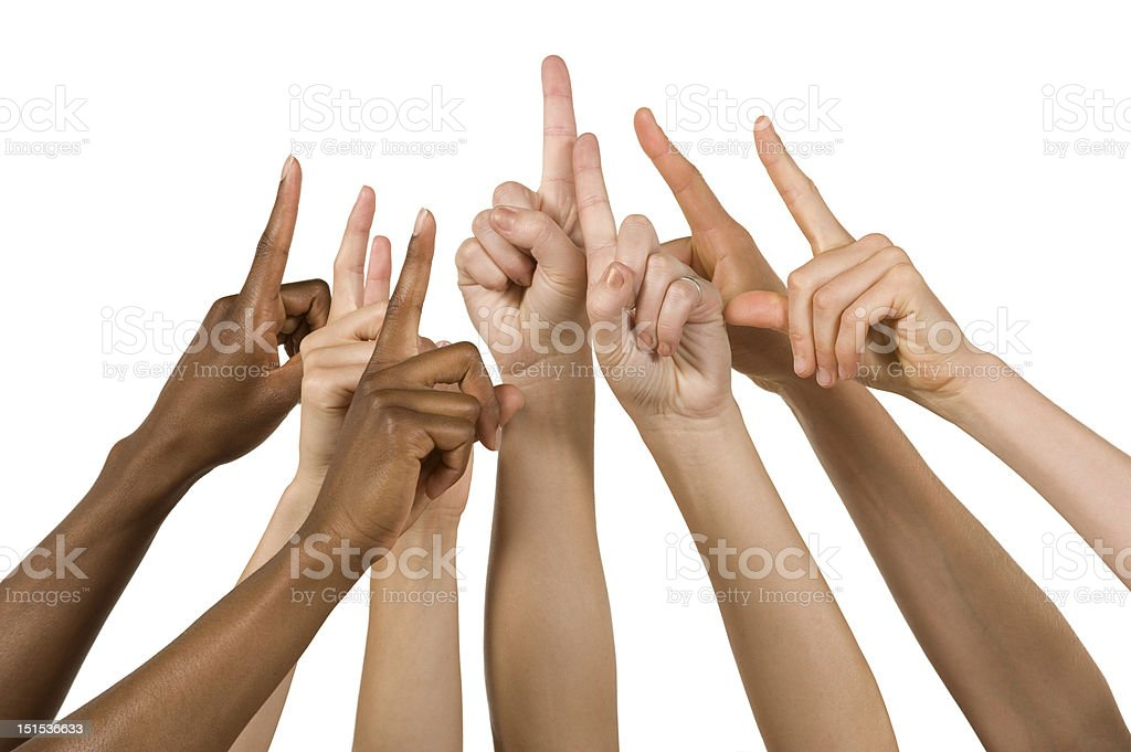 Group of Hands Holding up the Number One Sign stock photo