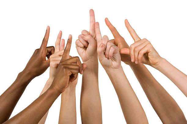 gruppo delle mani, tenendo il numero uno di - mano donna dita unite foto e immagini stock