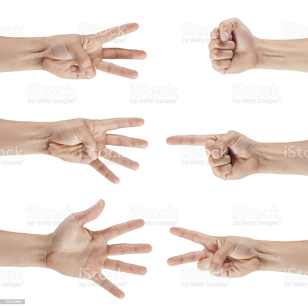 Group of hands indicating numbers 0-5 royalty-free stock photo